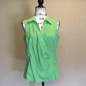 Talbots's green polka dot top